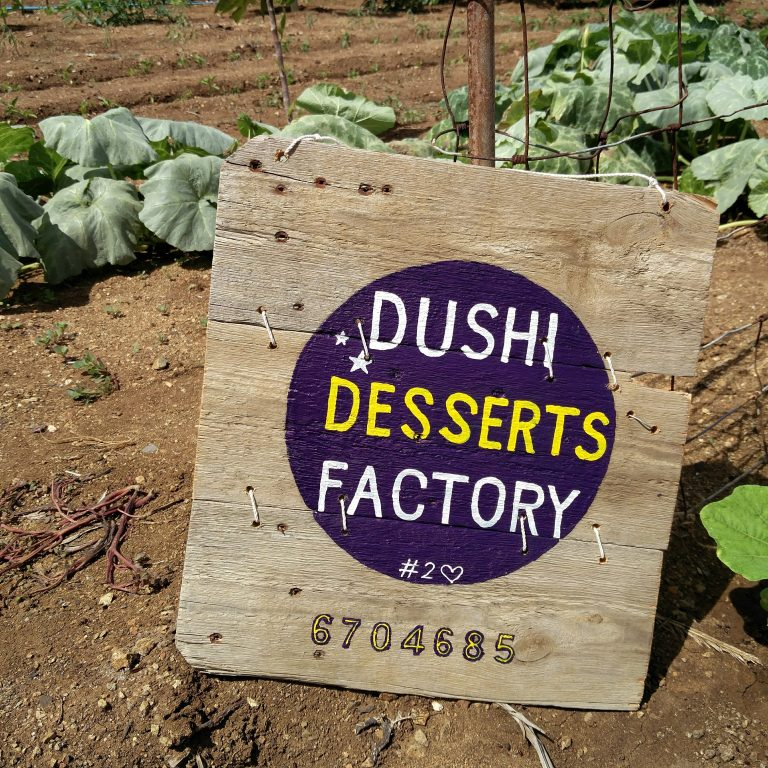 Dushi Desserts Factory pallet wooden sign hand painted by  Andy Kirchner fro 2nd Life Curaçao