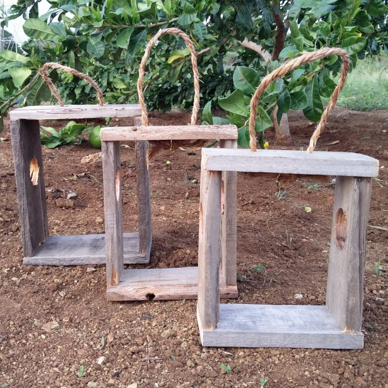 Pallet wooden plant and lantern cabinets