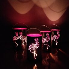 Flamingo Pink Small Tall Candle Light Lantern